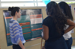 students in front of a poster session in a conference