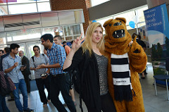 A graduate student with Nittany Lion Mascot