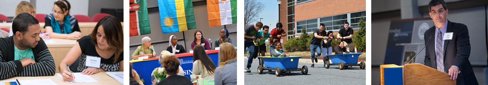Two students collaborating, International students address audience, Two teams participate in the annual bathtub race, Speaker at a podium