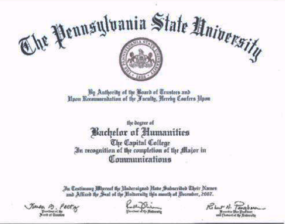 Example of diploma from Penn State Harrisburg campus