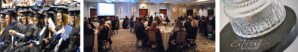 Students at graduation, Guests seated at Capital Society dinner, Capital Society detail
