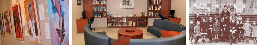 Paintings hang on the wall, Bookshelves and seating in the Schwab Family reading room, Black and white photo of adults and children