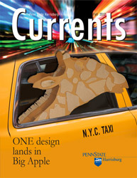Magazine cover with a giraffe sculpture in a taxi