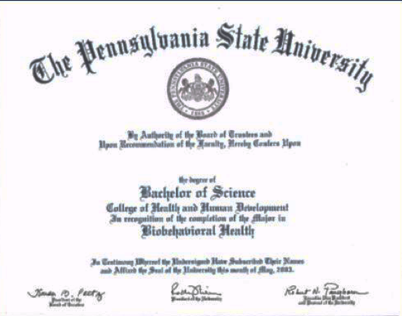 Example of diploma from Penn State main campus