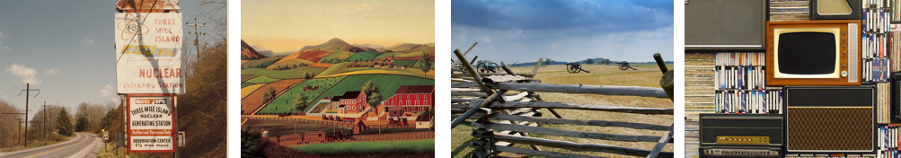 Road signs next to a two-lane road, Picture of farmhouse and fields, Split-rail fence with nineteenth century canon in background, Multimedia display featuring television set and audio speaker