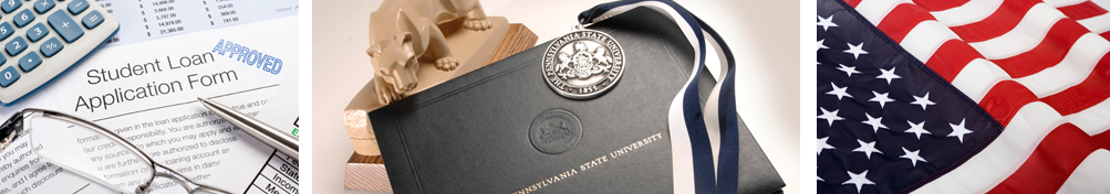 forms, a Penn State diploma, and the American flag