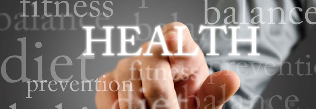 Hand pointed toward the word Health