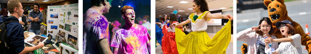 Student looking at display poster, Students splashed with color at Holi festival, Women performing a dance, Students pose with the Nittany Lion