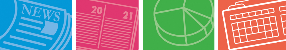 colorful icons of a newspaper, calendar, pie chart, and keyboard