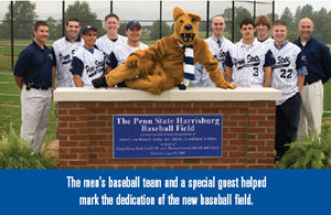 The men's baseball team and a special guest helped mark the dedication of the new baseball field