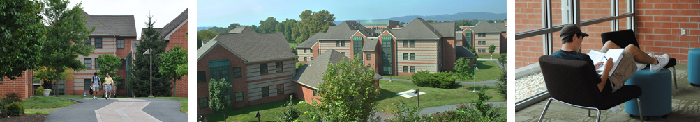 Students on path by residence Hall, Aerial view of the Village student housing, A student studying in common area