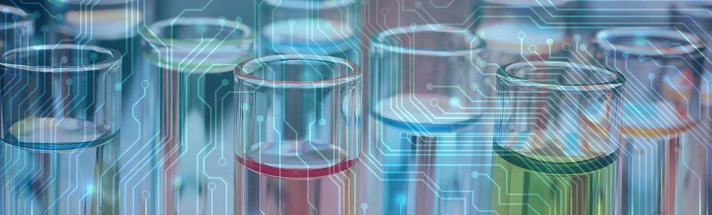 circuitboard pattern superimposed over vials full of colored liquids