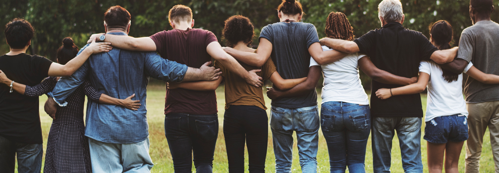 A group of people Standing In A Row, Hold Each Other, Arms Around Each Other