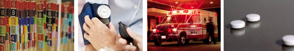 Numbered file folders, Blood pressure cuff, Ambulance, Tablets