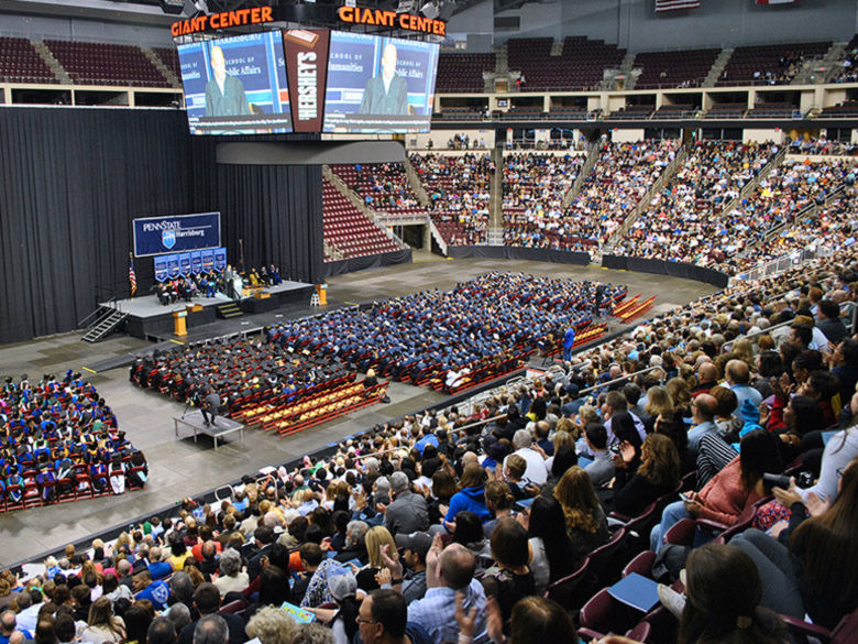 the commencement ceremonies at the Giant Center