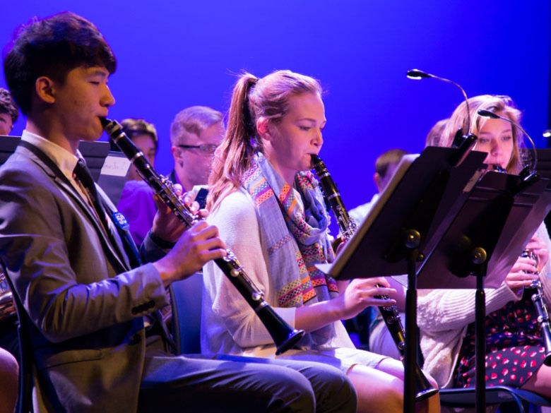 students playing clarinet in band