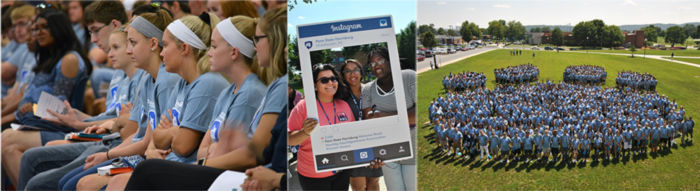 Left: Students in NSO Introduction ceremony, Middle: Students with PSU Instagram frame, Right: Students making the nittany paw