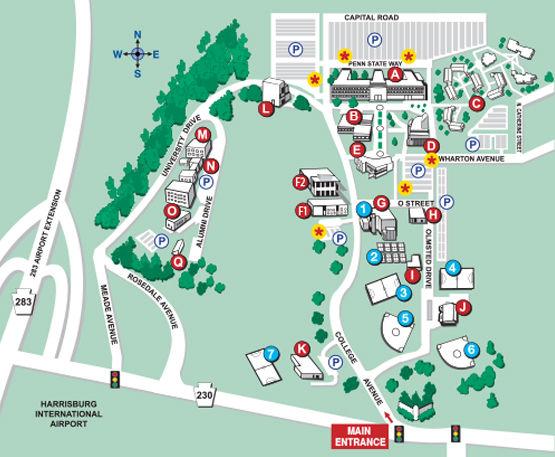 Campus Map Penn State Harrisburg - Map of penn