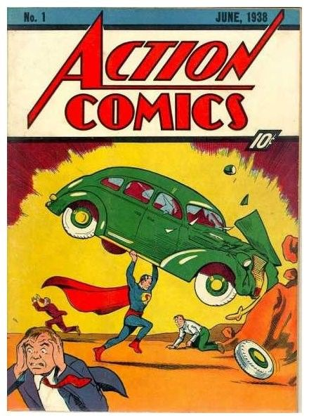 Cover to the first Superman comic book