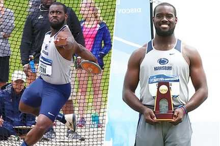 Split photo of Cameron Yon throwing the discus and posing with trophy