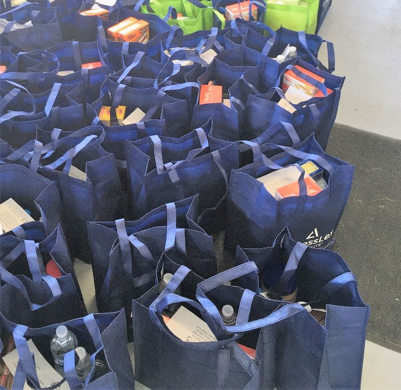 Bags filled with food for pick up at the Lion's Pantry