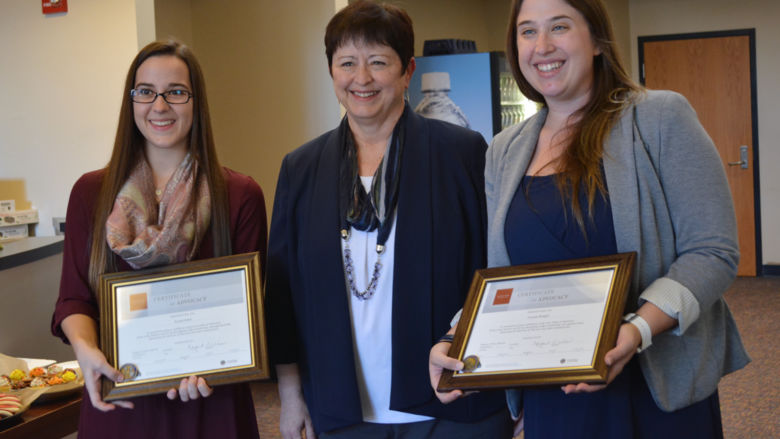 Amanda Blaugher and Krystal Huber pose with Margaret Wilson, the acting director of the Lebanon VA Medical Center