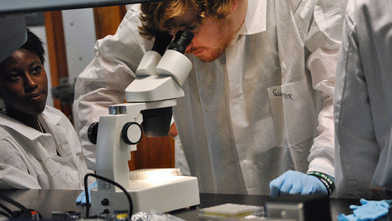 High school students studied plant research in the Central PA Research and Teaching Lab for Biofuels at Penn State Harrisburg