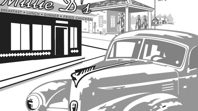 illustration of diner and car