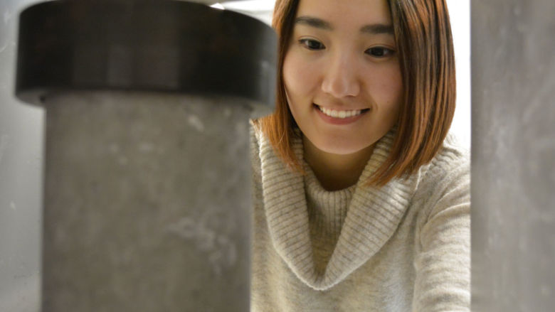 Penn State Harrisburg student Alice Zhang studies how adding recycled aggregates affects the strength of concrete.