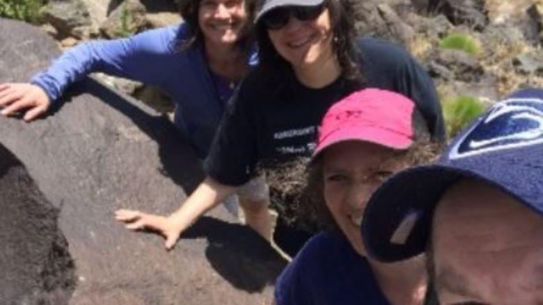 Hikers group -  National Petroglyph Monument near Albuquerque