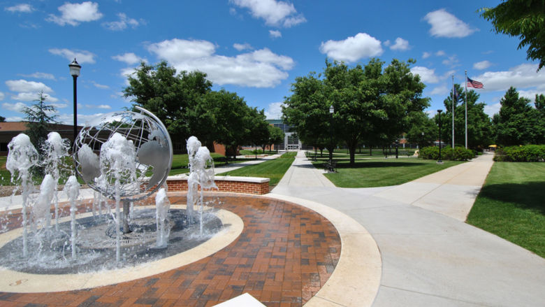 View of fountain and campus quad area at Penn State Harrisburg