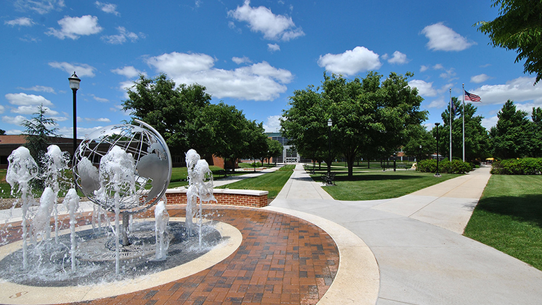 fountain and quad area on Penn State Harrisburg campus