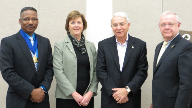 (Left to right) Dr. Roderick Lee, Chapter Honoree Susan Steadman, former Chapter Honoree Sal Fazzolari, and Dr. Richard Young