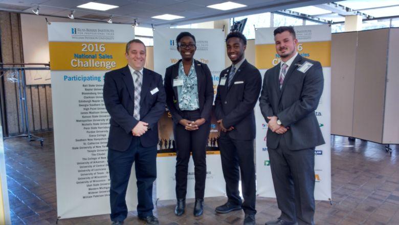 from l to r:  Dr. Darrell Bartholomew, Irenitemi Famadewa, Kenshay Kerr, and Tanner McCauley