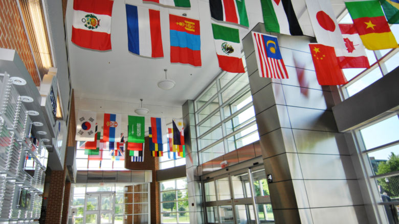 International flags in Olmsted Lobby