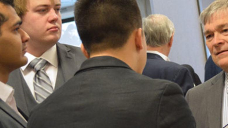 Penn State President Eric Barron talks to student entrepreneurs