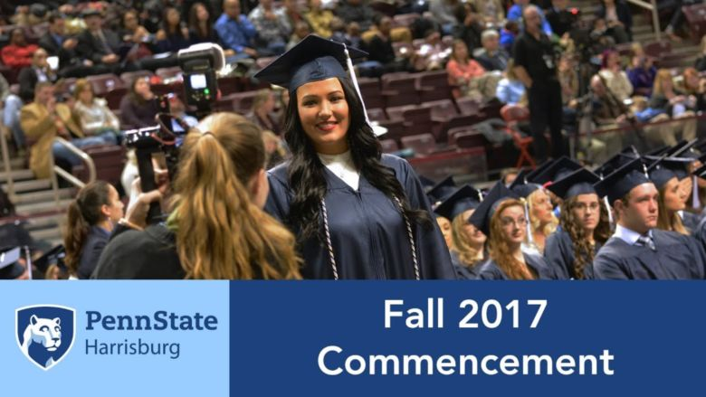 Students in caps and gowns at Penn State Harrisburg's Commencement ceremony