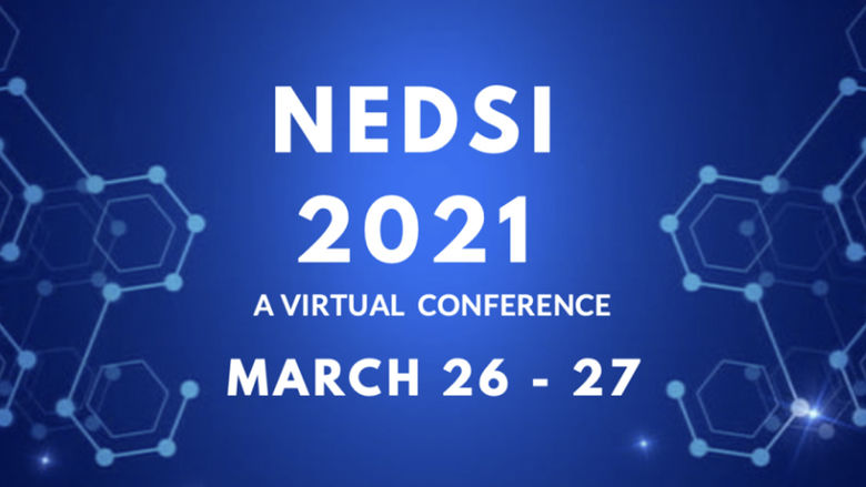 "text ""NEDSI 20201 A Virtual Conference March 26 to 27"" on blue background"
