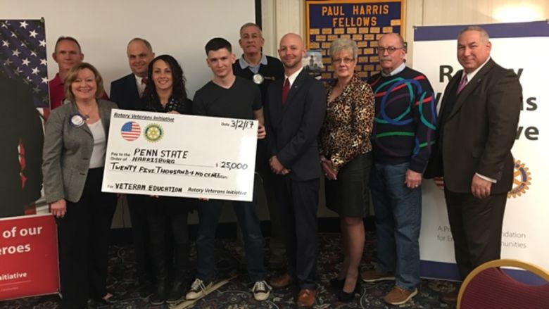 Rotary Veterans Initiative check donation to Penn State Harrisburg