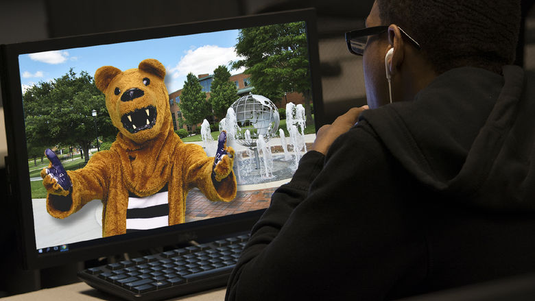 Nittany Lion on computer screen