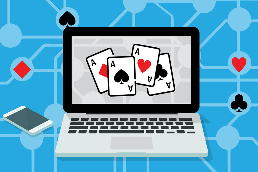 graphic of laptop with playing cards displayed on monitor