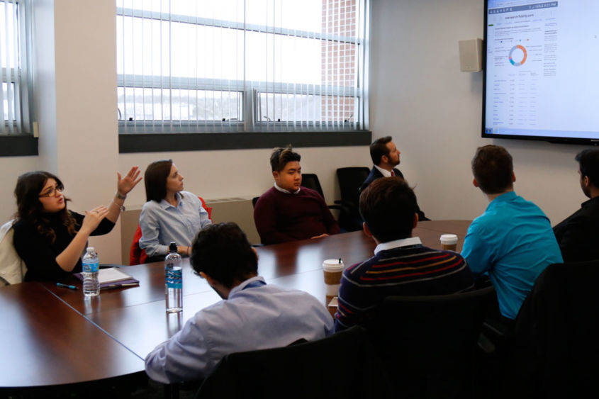 Penn State Harrisburg Student Investment Committee members meet regularly to discuss how to invest wisely to grow funds