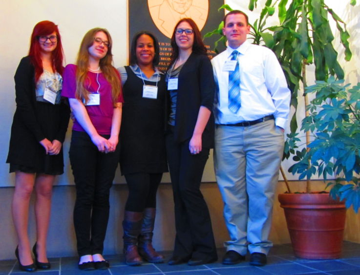 Students, from left, are Emily Kramer, Paige Erin Wealand, Gabrielle LeGrendre, Remy Babich, and Errick Pfuhl.