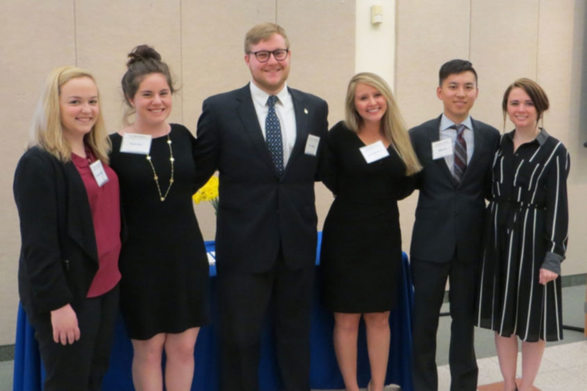 Six students - marketing honor society inductees