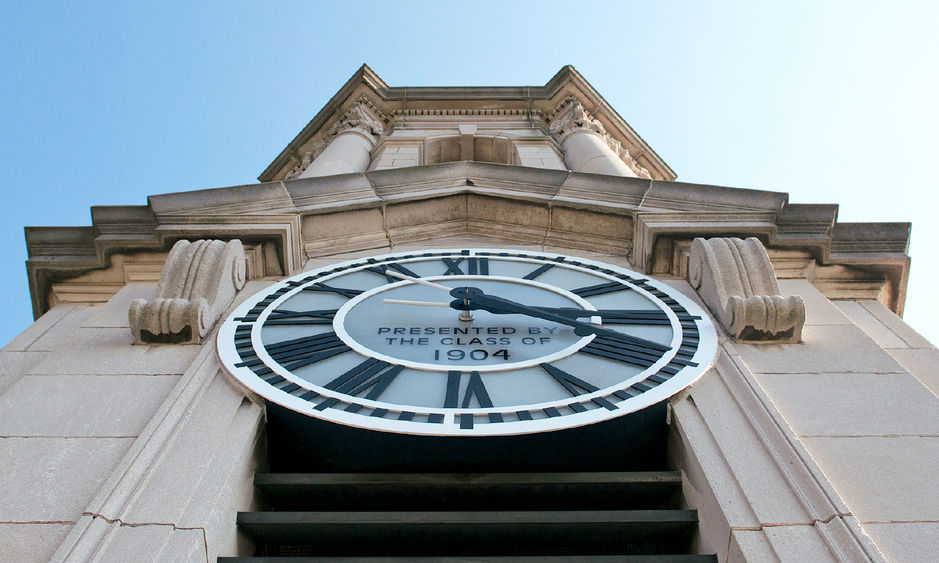 The clock in the bell tower of Penn State's Old Main building is a gift of the class of 1904