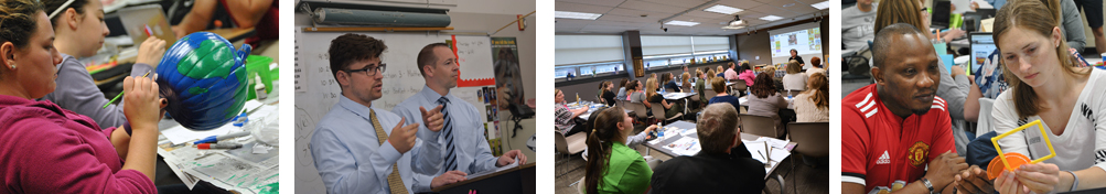 Various scenes from teacher education classrooms at Penn State Harrisburg