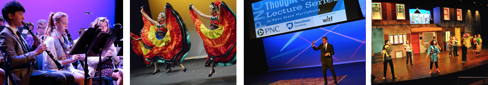 student orchestra; ethnic dancers leaping during performance; Richard Florida lecturing; student performance of Avenue Q