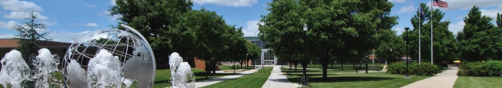 fountain and sidewalks on campus quad